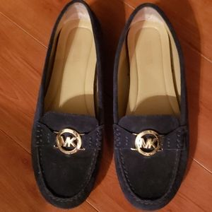 Michael Kors navy suede leather loafers sz 8M